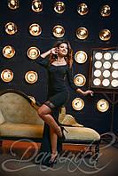 Платье «Паулина» - черное платье с длинным шлефом