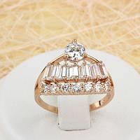 002-1520 - Оригинальное кольцо с прозрачными фианитами розовая позолота, 17.5 р.
