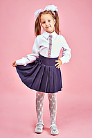 Белая блуза для девочки в школу № 106- вышивка
