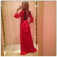 Платье вечернее в пол, спина открытая, ткань кристалл, дорогое кружево, цвет красный ля № мартини