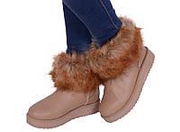 Ботинки зимние на меху. Угги женские беж