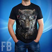 Черная мужская футболка с волком