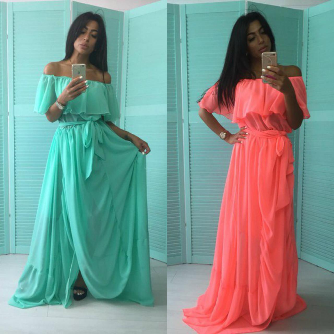 7d23ed24c48fe75 Шифоновое платье в пол с воланом - RUSH STORE интернет-магазин женской  одежды в Николаеве