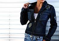 Пиджак женский джинсовый с нашивками