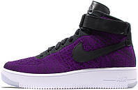 "Мужские кроссовки Nike Air Force 1 Ultra Flyknit Mid ""Purple/Black/White"", найк, аир форс"