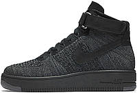 Мужские кроссовки Nike Air Force 1 Flyknit Ultra Black, найк аир форс