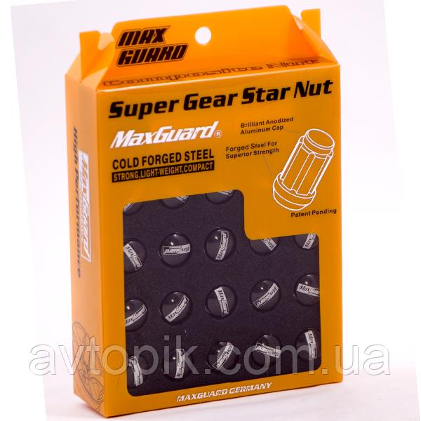 Комплект гаек (секретки) Max Guard M03-2Cba Конус (M12x1.5x34) Хром/Черная шляпка