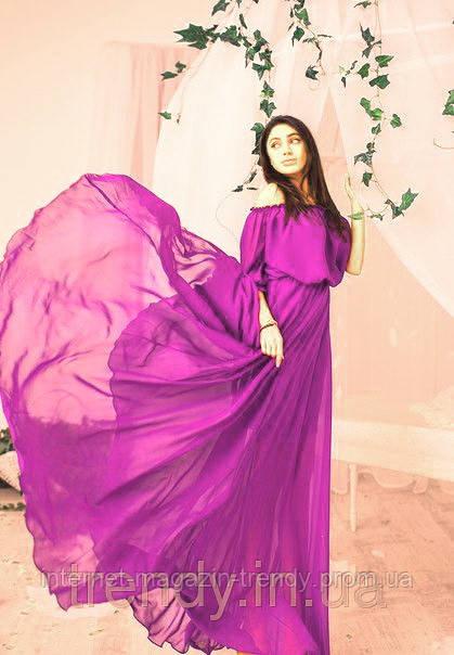 Платье в пол шифоновое в  сочном сиреневом цвете 01269