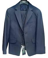 Школьный синий костюм в полоску (брюки+пиджак+жилет) р.116-146