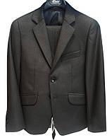 Школьный черный костюм в полоску (брюки+пиджак+жилет) р.116-146