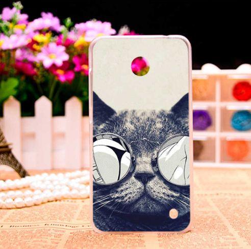 Чехол накладка для Nokia Lumia 630 / 635 с картинкой Кот в очках