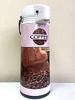 Термос-кофейник пластиковый колба стекло с помпой рисунок микс 1,9 л стекло,пластик / HZT 00-9