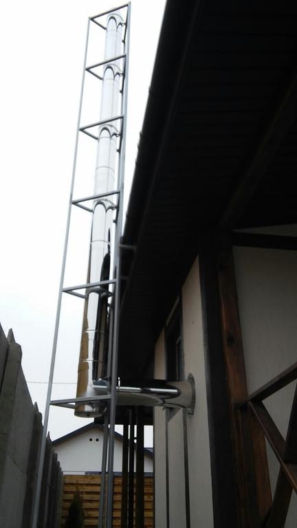 Монтаж дымоходов для твердотопливных котлов и газового