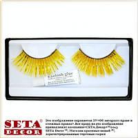 Жёлтые глянцевые ресницы накладные, длинные, карнавальные