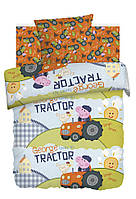 Детское полуторное постельное белье Джордж тракторист Свинка Пеппа 100% хлопок Peppa Pig