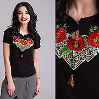 Вышитая женская футболка крестиком и гладью Три Мака черного цвета