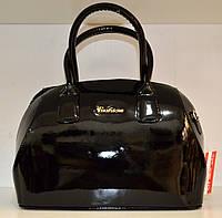 Женская лаковая  сумка бочонок