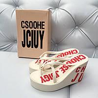 Шлепанцы на платформе Juicy Couture белые