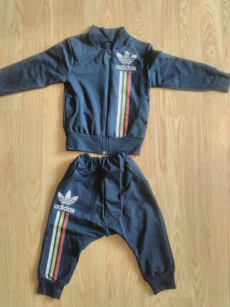 Спортивный костюм АДИДАС  черный полоски
