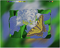 """Схема для вышивки бисером на подрамнике (холст) """"Бабочка на цветке"""""""