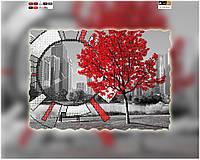 """Схема для вышивки бисером на подрамнике (холст) """"Часы - Лондон"""" (красные)"""