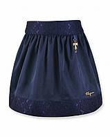 Детская школьная юбка синего цвета с кружевом