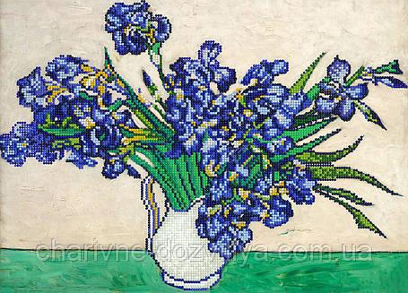 """Схема для вышивки бисером на подрамнике (холст) """"Букет ирисов. Винсент Ван Гог."""", фото 2"""