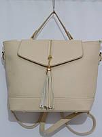 Сумка-рюкзак кремовый с кисточкой, фото 1