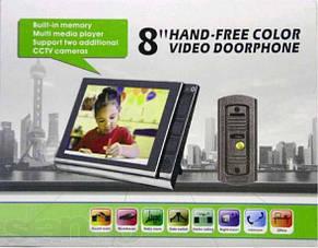 Кольоровий ультратонкий 8 дюймовий широкоекранний відеодомофон, фото 2