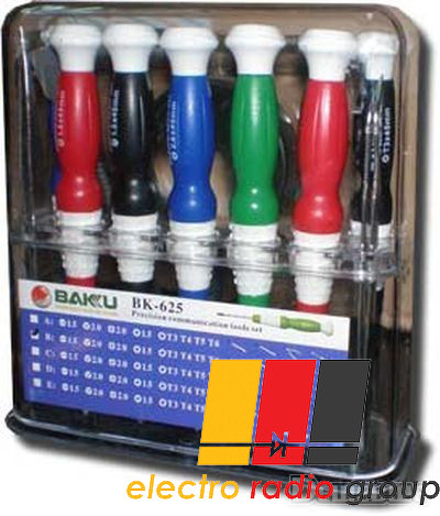 Набор инструментов  BAKKU  BK-625  (8 отверток, лопатка, скребок, ножницы), Box