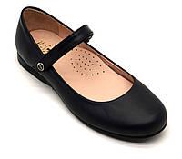 Туфли - лодочки кожаные, черные  для девочки ТМ FS collection. Размер 32-39