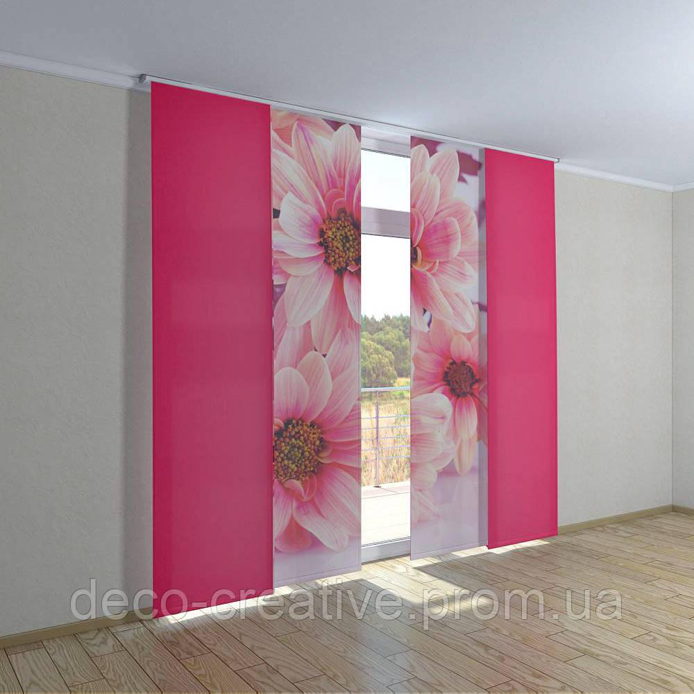 Японские фото шторы нежные цветы
