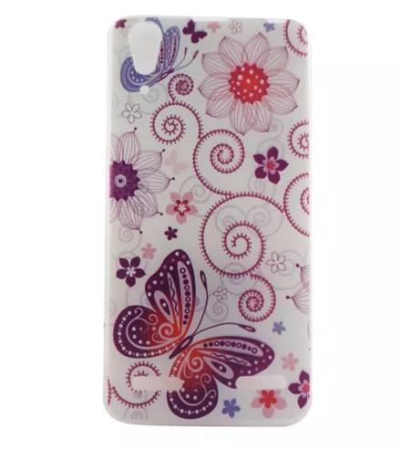 Чехол для Lenovo A6010 с картинкой - Бабочка на цветах
