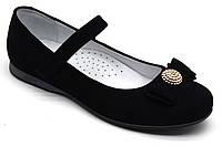 Туфли - лодочки велюровые, черные для девочки на липучке ТМ FS collection. Размер 32-39