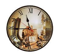 Часы круглые настенные дерево, фото 1