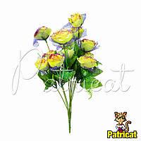Букет Желтых роз (Желтые розы) из ткани с фатином Высота 44 см