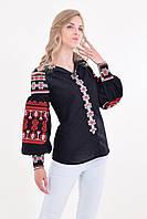 Традиционная женская льняная вышитая блуза с оригинальными рукавами фонариками в черно-красном цвете