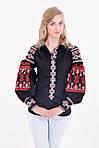 Традиционная женская льняная вышитая блуза с оригинальными рукавами фонариками в черно-красном цвете, фото 2