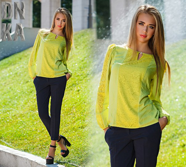 Элегантная блузка из гипюра и штапеля цвет оливы