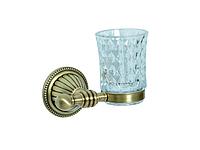 Стакан для зубных щеток KUGU Hestia antique 906A (латунь, бронза, стекло)(Бесплатная доставка  )