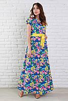 Нарядное длинное платье из шифона с роскошным цветочным рисунком