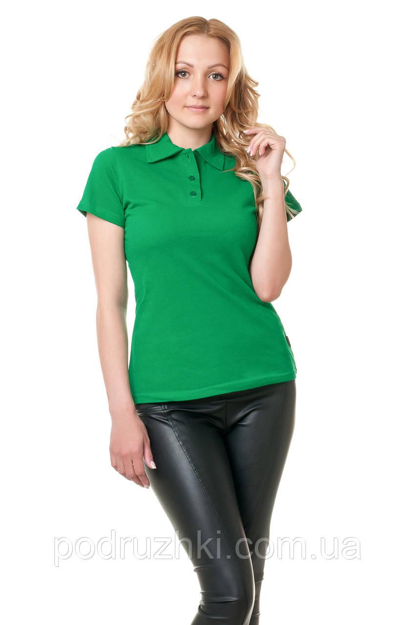 Футболка поло женская зеленого цвета