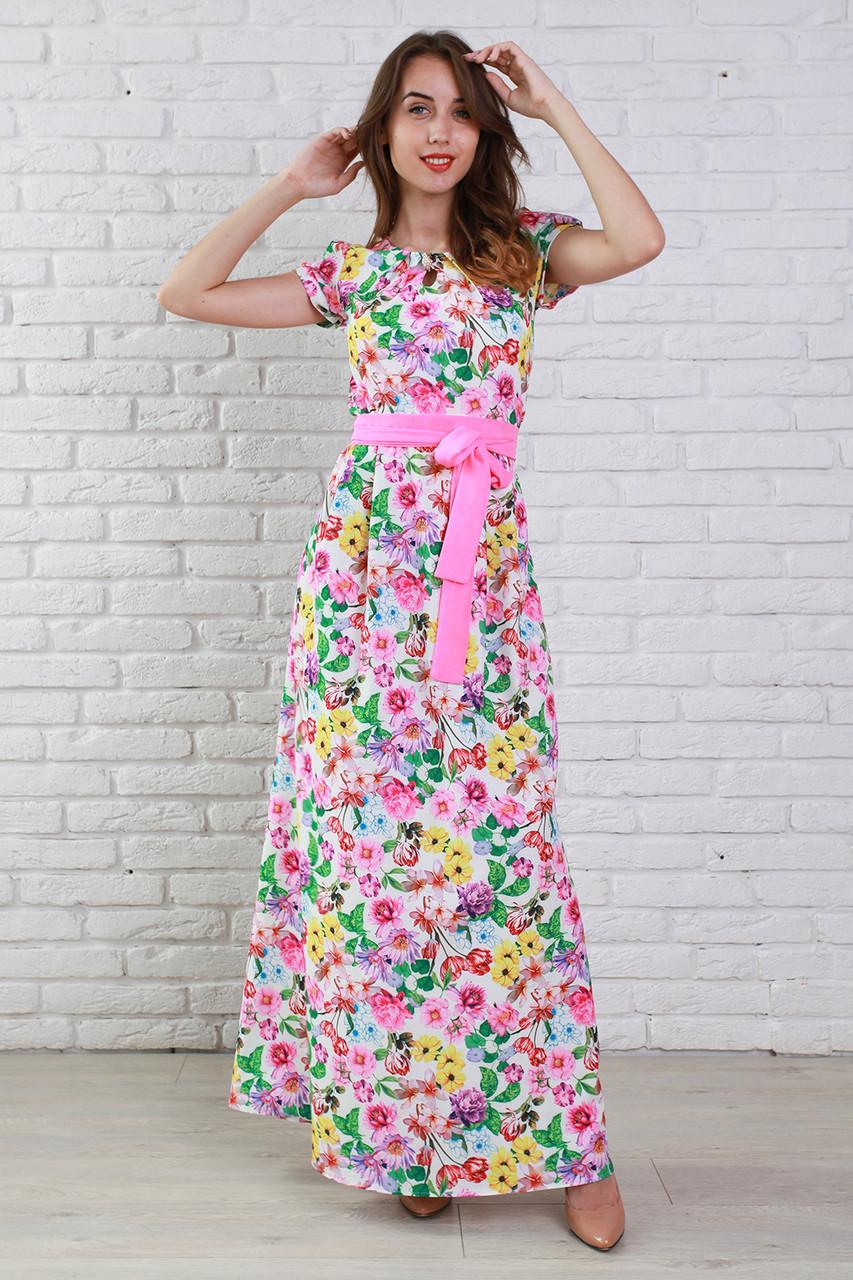 fdb7e9a1a755921 Очаровательное вечернее платье длинное в пол с нежным цветочным принтом и  поясом на талии