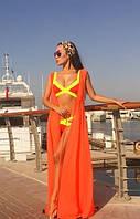Женская легкая платье, пляжная туника, оранж цвет