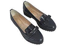 Туфли женские Лоферы кожа под рептилию