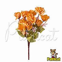 Букет Золотых роз (Золотые розы) из ткани с веточками Высота 44 см