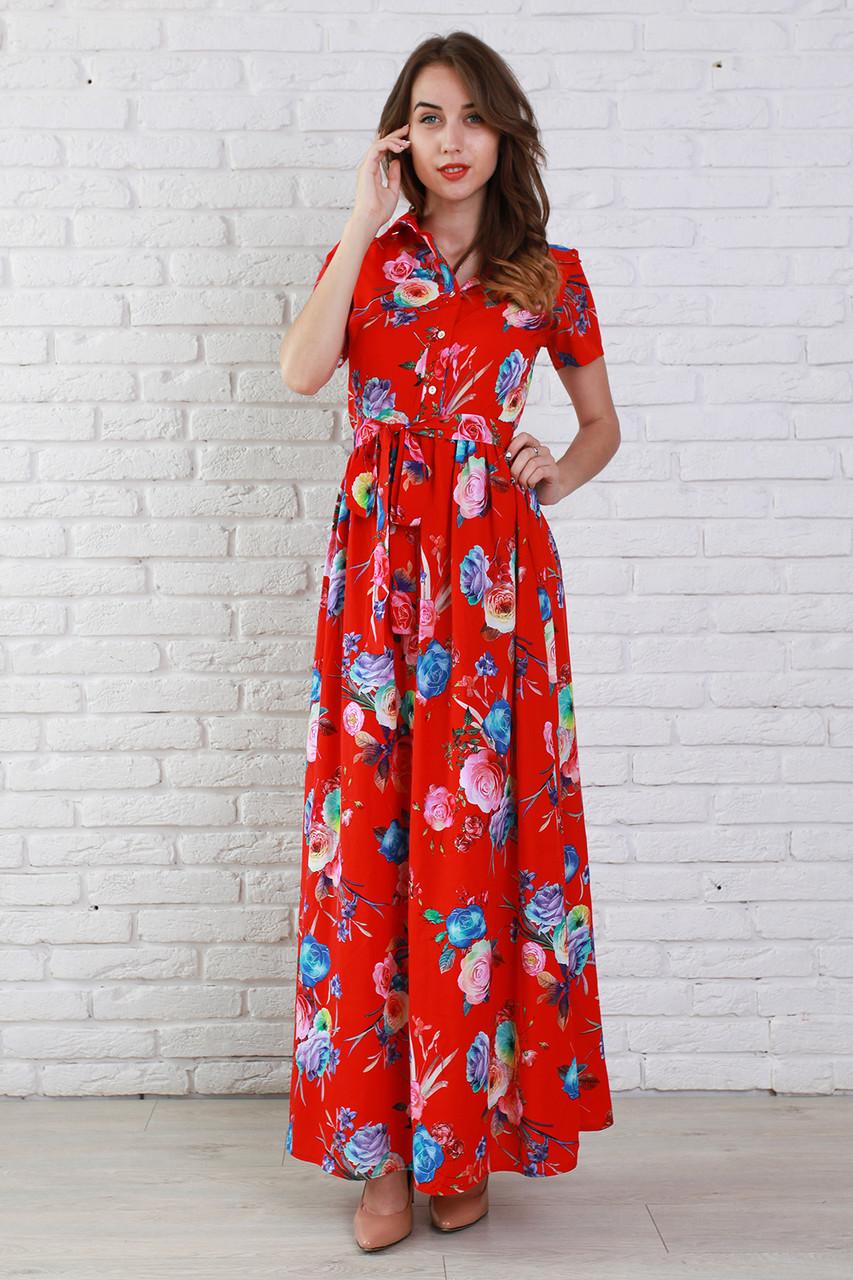 93a4b1f2 Яркое красное платье из штапеля с рубашечным воротником и поясом на талии,  цена 340 грн., купить в Хмельницком — Prom.ua (ID#331131367)