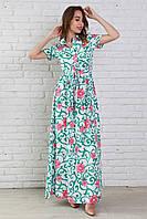 Отличное повседневное платье из штапеля белого цвета с ярким рисунком