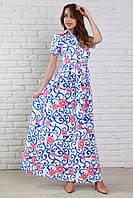 Молодежное летнее платье длинное в пол с рубашечным воротником и поясом на талии