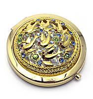 Зеркальце косметическое Узор с камнями